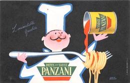 """¤¤  -  Carte Publicitaire  -  Pates Et Sauce """" PANZANI """"   -   Illustrateur """" Hervé MORVAN """"      -   ¤¤ - Publicité"""