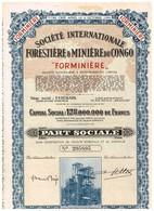 """Titre Ancien - Société Internationale Forestière & Minière Du Congo """"FORMINIERE"""" - Titre De 1950 - Afrique"""