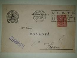 CP443-Cartolina Pubblicitaria Federazione Corpi Dei Pompieri - Trento - 1900-44 Vittorio Emanuele III