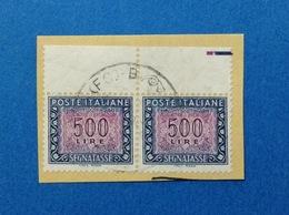 1992 ITALIA FRANCOBOLLO USATO STAMP USED SEGNATASSE IPZS ROMA COPPIA 500 LIRE - 6. 1946-.. Repubblica