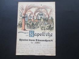 AK Künstlerkarte 1936 Frankfurt A/M Zum Kapellsche Hinter Dem Lämmchen 8 Nach Bielefeld Gesendet - Hotels & Gaststätten
