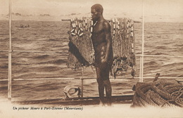 Mauritanie Pecheur Maure à Port Etienne . Nude Black Fisherman With Net - Mauritania