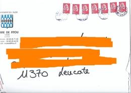 7 Marianne L'engagée Ysault YZ Lettre Prioritaire Trop Centré Vers Le Haut Sur Env Mairie Fitou Aude + Cachet Manuel - 2018-... Marianne L'Engagée