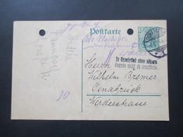 DR 1914 Ganzsache Germania Ortskarte Osnabrück Stempel: In Osnabrück Ohne Nähere Angabe Nicht Zu Ermitteln - Covers & Documents