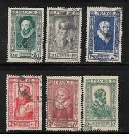France Timbres De 1943 Célébrités N°587 A 592 Oblitérés - Francia