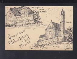 Württemberg Zeichnung Auf PK 1897 Rainau Schwabsberg Gasthaus Zum Lamm 1897 - Stuttgart