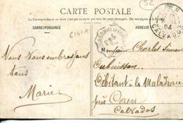 N°6147 A -cachet Convoyeur (ambulant) Bourbonne Les Bains à Vitrey -1904- - Poste Ferroviaire