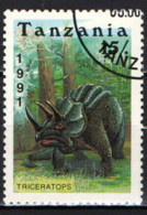 TANZANIA - 1991 - ANIMALI PREISTORICI: TRICERATOPS - USATO - Tanzania (1964-...)