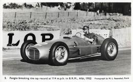 Rare Vintage Photo Postcard Of Juan Manuel Fangio Breaking The Lap Record In Albi, 1952, B.R.M., Motorsport, Cars - Grand Prix / F1