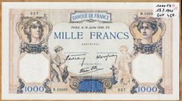 Blt8- Billet MILLE 1000 FRANCS Type CERES Et MERCURE PARIS 18 Juillet 1940 ES Alphabet N.10350 -337 N°258737337 - 1 000 F 1927-1940 ''Cérès Et Mercure''