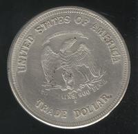 Faux Trade Dollar Américain 1878 - Tranche Striée - Exonumia - Fictifs & Spécimens