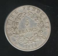 Fausse 5 Francs Napoléon Premier 1814 Q - Tranche Striée - Exonumia - Fictifs & Spécimens