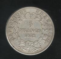 Fausse 5 Francs Napoléon Premier III 1852 A - Tranche Striée - Exonumia - Fictifs & Spécimens