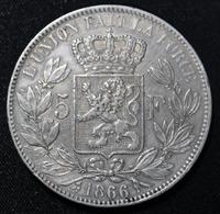 LEOPOLD II 5 FR 1866   TOP KWALITEIT   4 AFBEELDINGEN - 1831-1865: Leopold I