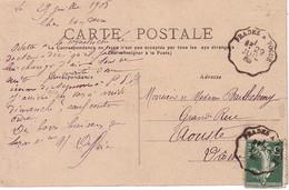 ARDECHE - CONVOYEUR - PRADES A VOGUE - SEMEUSE - RECTO ET VERSO - 1905 - LE VERNET. - Marcophilie (Lettres)