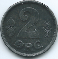 Denmark - Christian X - 2 Øre - 1918 - KM813.1a - WWI Iron Coin - Denemarken
