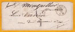 1854 - Enveloppe De Genova, Gênes (roy. De Sardaigne, Auj. Italie) Vers Montpellier, France Via Nizza, Nice Et Marseille - Postmark Collection (Covers)