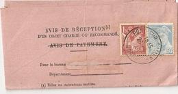 Avis De Réception D'un Objet De Pont Sur Sambre à Berlaimont, Timbres N° 652 + 660, 1945 - Marcophilie (Lettres)