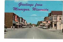 MINOCQUA, Wisconsin, USA, Main Street & Stores, Old Cars, 1960-70's Chrome Postcard - Etats-Unis