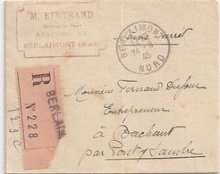 Saisie Arrêt Sur Salaire, Justice De Paix De Berlaimont, Recommandé Berlaimont Sans Timbre, 1945 - Marcophilie (Lettres)