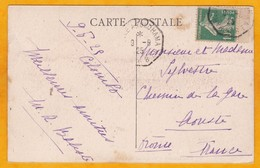 1925 - CP De Colombo, Ceylan, GB, Auj. Sri Lanka Vers Aouste, France Par Ligne Paquebot Fr. Marseille Yokohama N° 8 - Postmark Collection (Covers)