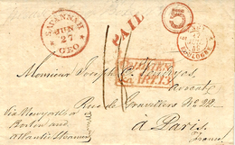 1849-letter From Savanah ( Géorgia,U S A ) To Paris - COLONIES / &c. ART. 13 Red,  + 5 Cents To N Y Or Boston -very Nice - United States
