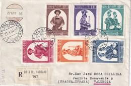 VATICAN 1956 LETTRE RECOMMANDEE AVEC CACHET ARRIVEE VALENCIA - Lettres & Documents