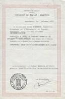 Université Du Travail Charleroi Hainaut 1931 Ecole Industrielle Supérieure. Certificat - Diplômes & Bulletins Scolaires