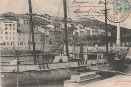 Pyrénées-orientales : PORT VENDRES : Dans Le Port - Voilier Trois Mats ( Précurseur ) - Port Vendres