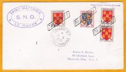 1955 - CP De Conakry, Guinée Française Vers Mansfield, Ohio, USA Par Paquebot Français Saint Matthieu - Le Havre - SNO - Postmark Collection (Covers)