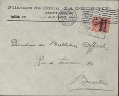YT 3 Deutsches Reich Surcharge Belgien 10 Ct Enveloppe Filature Coton La Georgie Alois CAD Brussel 16 IV 1915 + Censure - Zona Belga