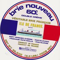 ETIQUETTE DE BRIE GRAND FORMAT 21 CM EXPORT VERS USA  PAQUEBOT ILE DE FRANCE - Fromage