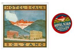 2 Etiquettes HOTEL SCALA BOLZANO - Italie - Original Luggage Label - 2 Scans - Etiquettes D'hotels