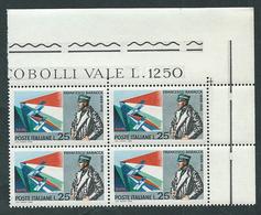 Italia 1968; Francesco Baracca, Anniversario Della Morte; Quartina Di Angolo Superiore. - 6. 1946-.. Republic