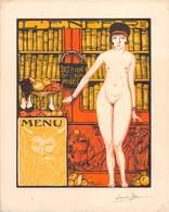 """1118 """"MANU  - LES CENT BIBLIO PHILES - LE CONTO BIBLIOTECHE"""" ANIMATO, FIRMATO LOUIS JON - ORIGINALE - Menus"""