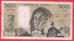 """500 Francs """"Pascal"""" Du 07/01/1982.F----F/TTB+---Série C.152 - 1962-1997 ''Francs''"""