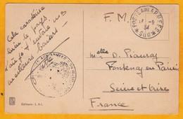 1934 - CP En Franchise Militaire De Beyrouth, Liban, Secteur Postal 600 Vers Fontenay En Parisis, Val D'Oise, France - Levant (1885-1946)