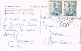 32572. Postal BOSOST (Lerida) 1955. Vall D'Aran, Erosiones Rio Garona - 1951-60 Briefe U. Dokumente