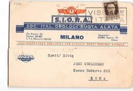 1349 MILANO SIORA OROLOGI RUOTA ALATA X ROMA - Marcophilie