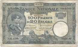 Bélgica - Belgium 100 Francs 6-3-1928 Pk 102 2 Ref 3282-2 - 100 Francos & 100 Francos-20 Belgas