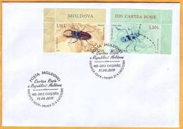 2019 Moldova Moldavie  FDC Used  Red Book. Alpine Longhorn Beetle.  Stag Beetle Cover Fauna - Insects