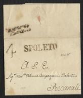 DA SPOLETO A RECANATI - 13.11.1825 - TASSA A TAMPONE 4 BAJ. - Italia