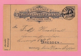 Th 14 Entier Postal Privé  Dresden 2 Pf.    Hansa Dresden 14.5.89 + Rûche D'abeilles - Api