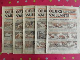 5 Coeurs Vaillants 1935. Hergé Tintin En Orient (cigares Du Pharaon) Jim Boum Marijac - Otras Revistas
