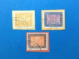 SEGNATASSE 100 500 1500 LIRE IPZS ITALIA FRANCOBOLLO USATO STAMP USED - 6. 1946-.. Repubblica