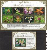 BHUTAN , 2017, MNH,  FLORA, FLOWERS, ORCHIDS,  SHEETLET+ S/SHEET - Orchidées