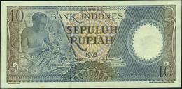 INDONESIA - 10 Rupiah 1963 AU-UNC P.89 - Indonesië