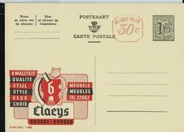 Publibel Neuve N° 1488 M ( CLAEYS  Meubles De Qualité - BRUGGE) + Repiquage De La Firme Publibel - Enteros Postales