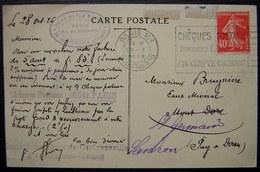 1926 Paris 108 Société Des Eaux Minérales De Contrexeville (Vosges) Plusieurs Cachets Sur Carte Du Pavillon - 1921-1960: Période Moderne