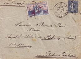 SEMEUSE - PARIS - 17-9-1922 - VOL POUR MEKNES VIA RABAT-TOULOUSE - VIGNETTE GUYNEMER - LETTRE AVION POUR UN MILITAIRE. - Marcophilie (Lettres)